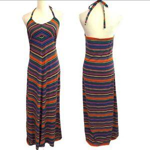 Rainbow Striped Halter Maxi Dress